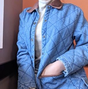 RARE VTG 100% Cotton Quilted Jean Jacket